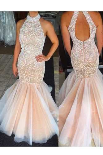 Tulle Mermaid Prom Dress Embellished with Pearls