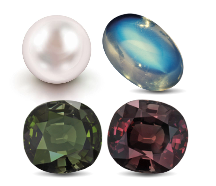 Pearl, Alexandrite, and Moonstone Birthstones