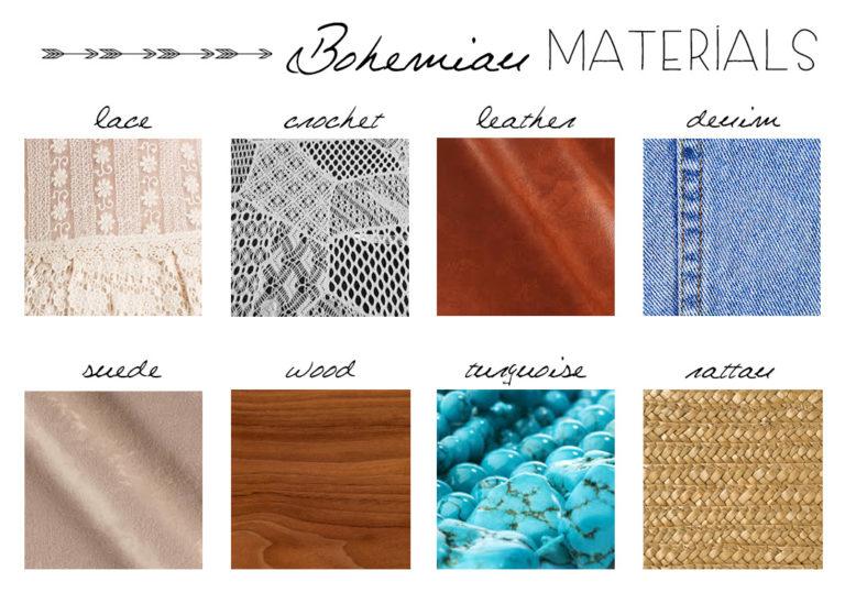 Materiales bohemios en moda