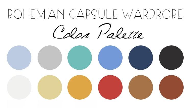 Paleta de colores estilo bohemio