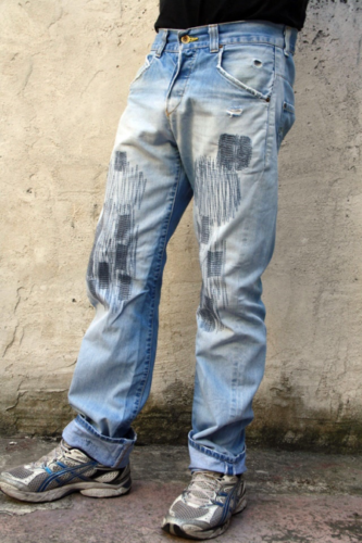 141a392552ae Distressed jeans: Hard rock and heavy metal bands such as Nirvana, Sonic  Youth, and the Pixies gave rise to grunge culture, and 80's fashions for  men ...