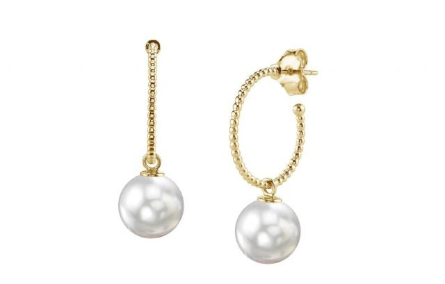 14K Yellow Gold White South Sea Pearl Isabella Earrings from The Pearl Source