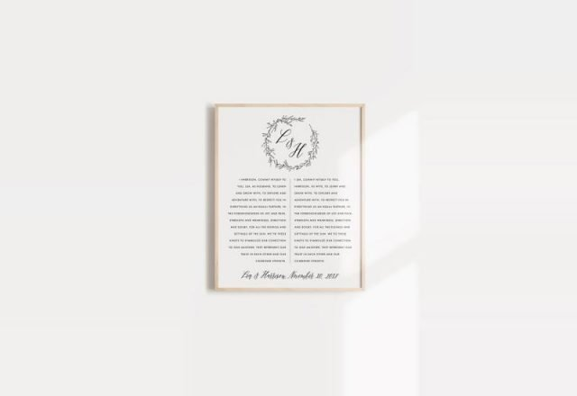 Framed Monogrammed Wedding Vows