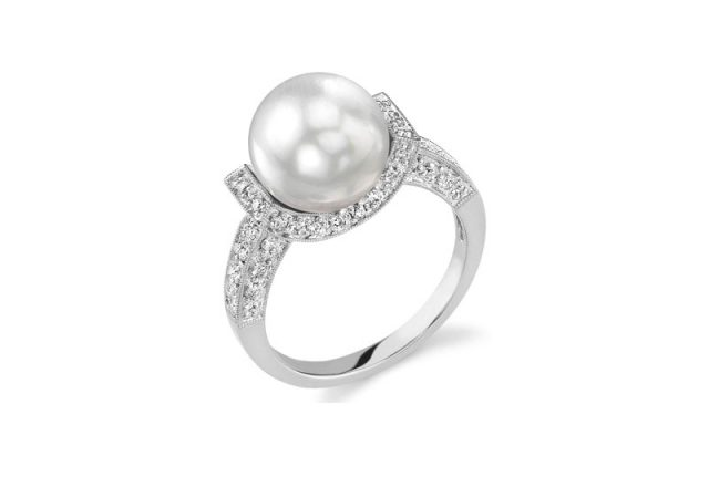 South Sea Pearl Diamond Sparkling Jewel Engagement Ring