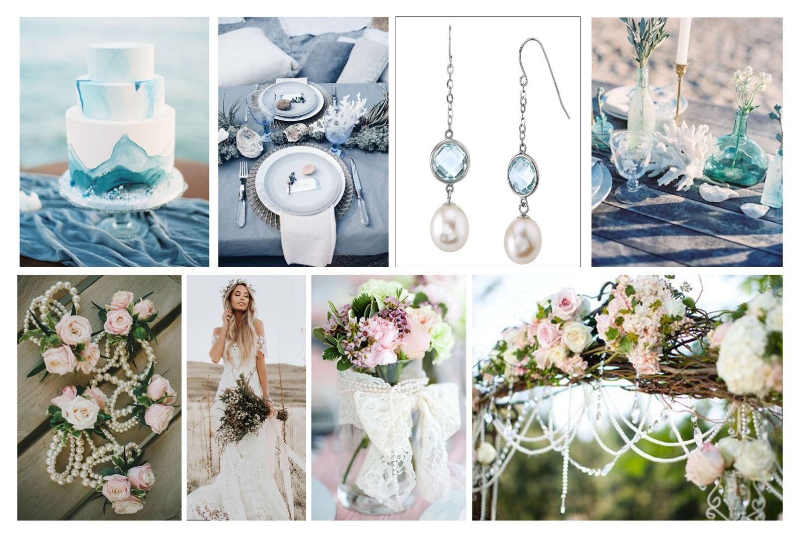 Pearl Bridal Jewelry and Decor for a Stunning Beach Wedding