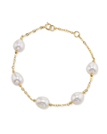 7-8mm Drop-Shape White Freshwater Pearl Tincup Emily Bracelet - Model Image