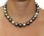 13-14mm Tahitian Multicolor Pearl Necklace - AAAA Quality - Model Image