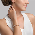 6.0-6.5mm Akoya White Pearl Bracelet- Choose Your Quality - Model Image