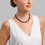 6.5-7.0mm Japanese Akoya Black Choker Length Pearl Necklace- AA+ Quality - Model Image