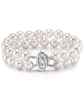 Japanese Large Akoya White Pearl Double Bracelet- Choose Your Quality