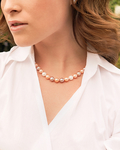 8-9mm Freshwater Multicolor Pearl Necklace - AAA Quality - Model Image