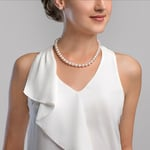9.0-9.5mm Hanadama Akoya White Pearl Necklace - Model Image
