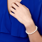 8.5-9.5mm White Freshwater Pearl Bracelet - AAAA Quality - Model Image