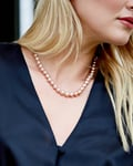 9-10mm Peach Freshwater Pearl Necklace - Model Image