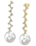 White South Sea Pearl & Diamond Naomi Earrings - Model Image
