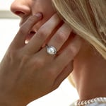 Freshwater Pearl & Diamond Willow Ring - Model Image
