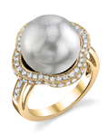 South Sea Pearl & Diamond Patricia Ring - Model Image