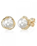 White South Sea Pearl and Diamond Lexi Earrings - Model Image