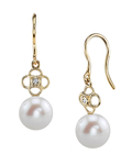 Freshwater Pearl & Diamond Lacy Earrings - Secondary Image