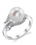 Freshwater Pearl & Diamond Willow Ring