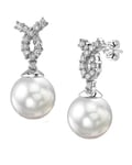 South Sea Pearl & Diamond Swirl Earrings