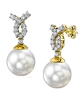South Sea Pearl & Diamond Swirl Earrings - Secondary Image