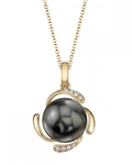 Tahitian South Sea Pearl & Diamond Debra Pendant - Model Image