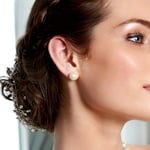 9mm White Freshwater Pearl Stud Earrings - Model Image