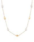 14K Gold Freshwater Pearl Opera Length Tincup Mikayla Necklace - Model Image