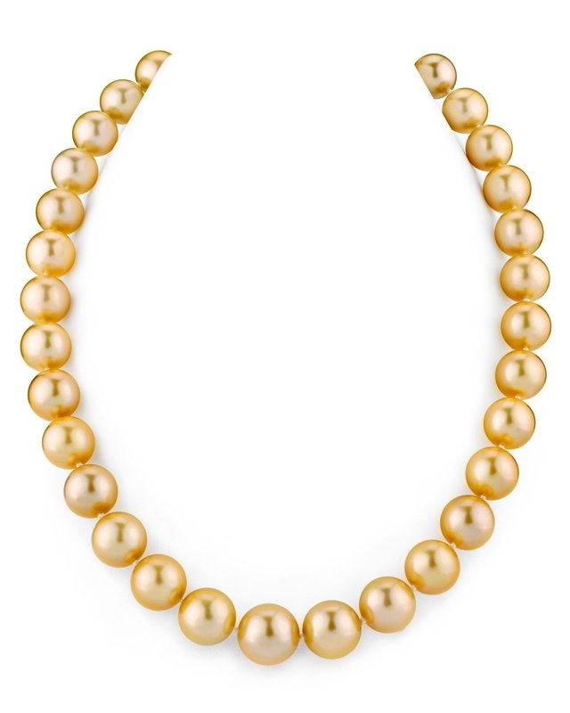 11-13mm Golden South Sea Pearl Necklace - AAAA Quality