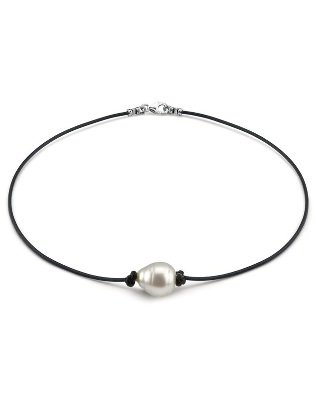 South Sea Baroque Pearl Leather Necklace- Various Sizes