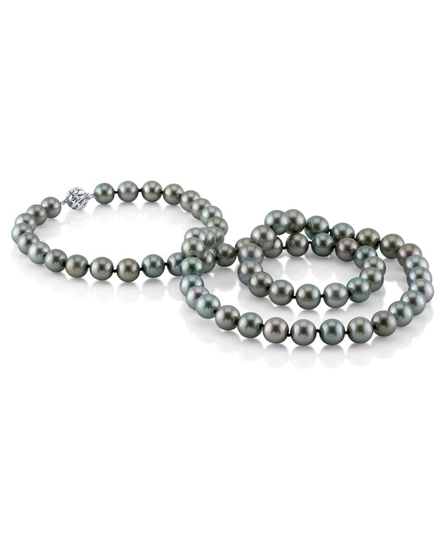 Opera Length 12-13mm Green Tahitian South Sea Pearl Necklace-AAAA Quality