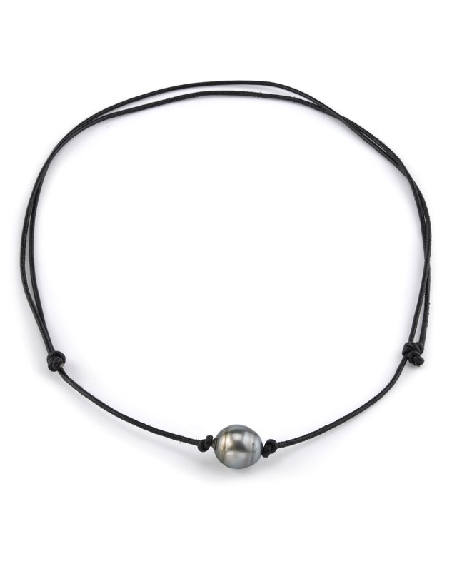 Tahitian Baroque Pearl Leather Adjustable Necklace- Various Sizes