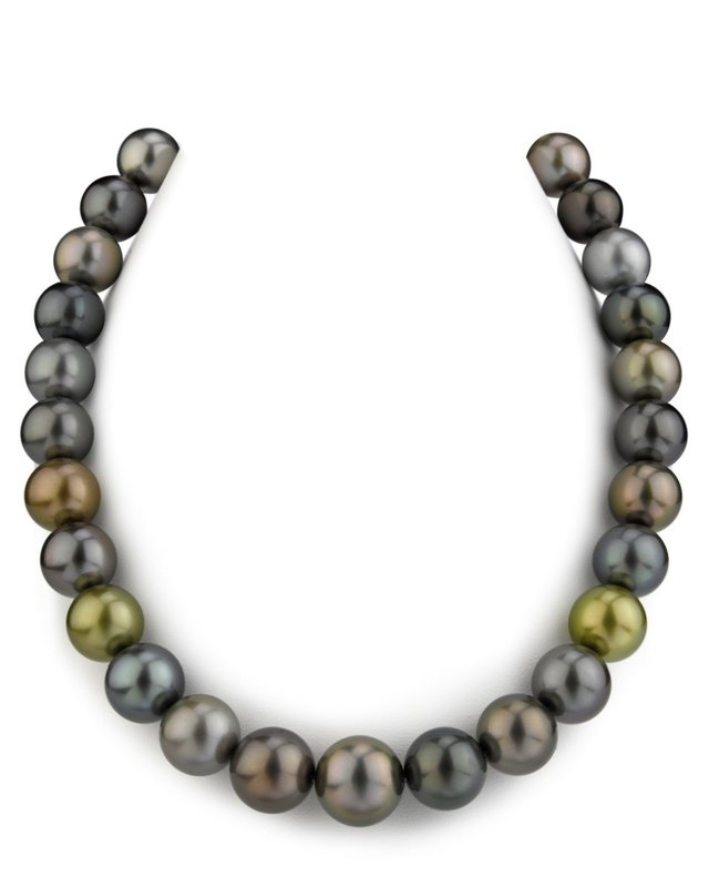 13-15mm Tahitian Multicolor Pearl Necklace - AAAA Quality