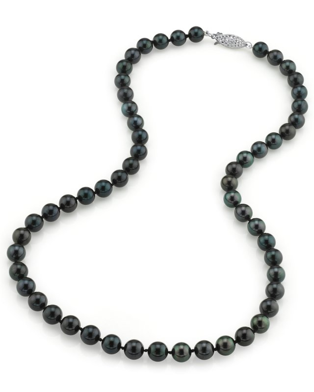 7.0-7.5mm Japanese Akoya Black Pearl Necklace- AAA Quality