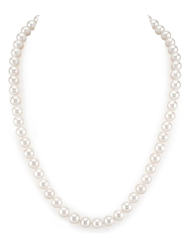 7-8mm White Freshwater Choker Length Pearl Necklace - AAAA Quality