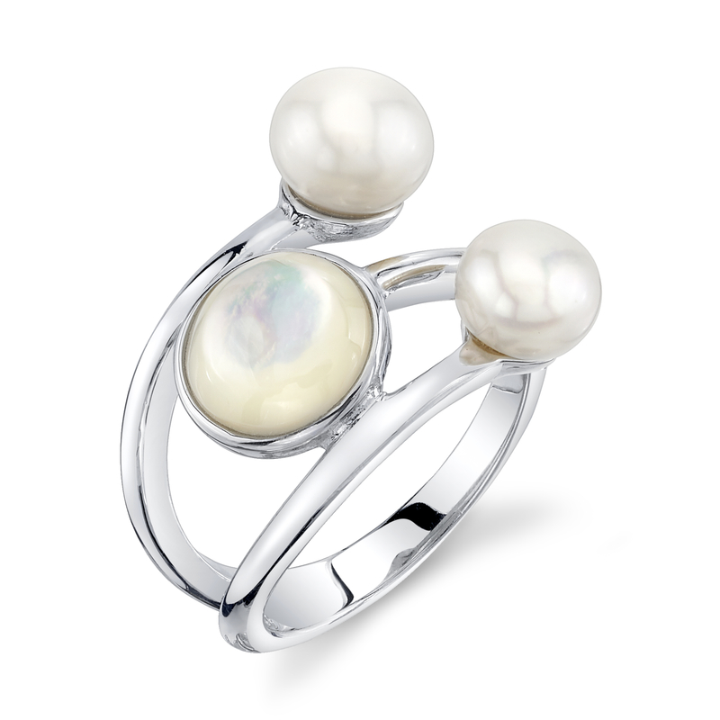 White Freshwater Pearl & Mother of Pearl Josie Ring