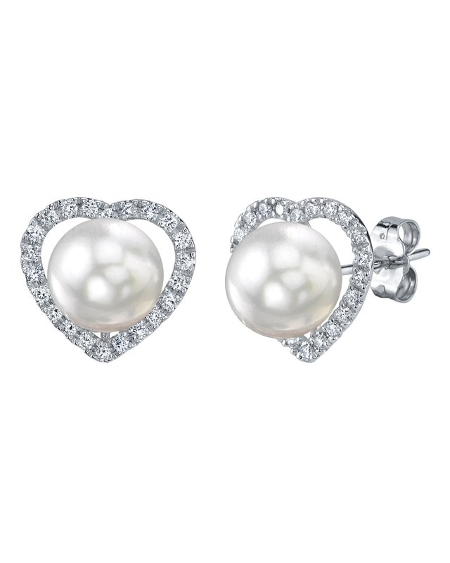 White South Sea Pearl & Diamond Amour Earrings