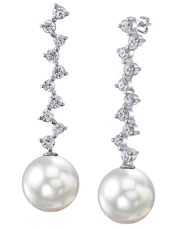 White South Sea Pearl & Diamond Naomi Earrings