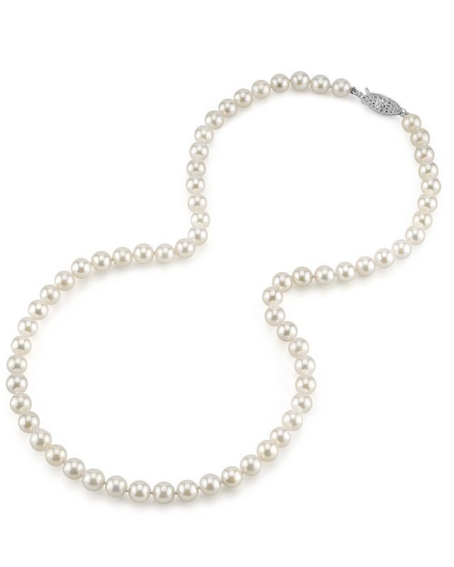 6.0- 6.5mm Japanese Akoya White Pearl Necklace- AAA Quality