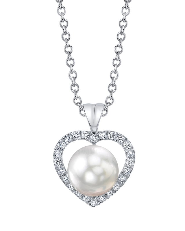 White South Sea Pearl & Diamond Amour Pendant