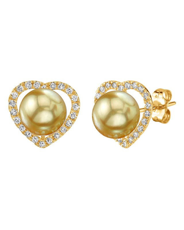 Golden South Sea Pearl & Diamond Amour Earrings