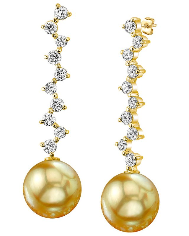 Golden South Sea Pearl & Diamond Naomi Earrings