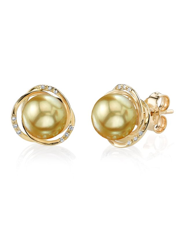Golden South Sea Pearl and Diamond Lexi Earrings