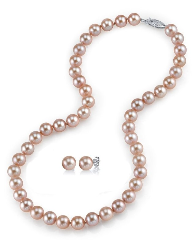 7-8mm Pink Freshwater Choker Length Pearl Necklace & Earrings