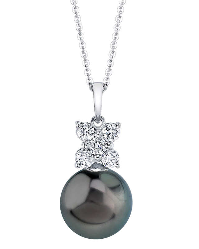 Tahitian South Sea Pearl & Diamond Dahlia Pendant