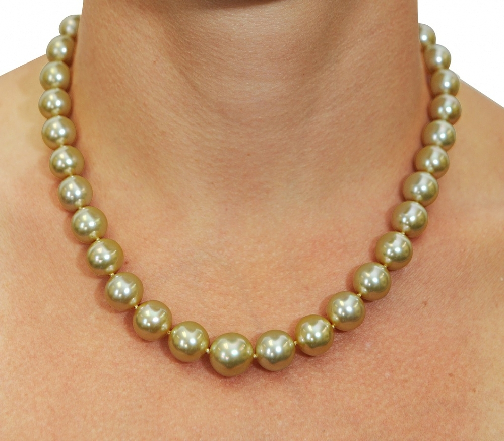 d0b3010f6800d 10-12mm Golden South Sea Pearl Necklace - AAAA Quality