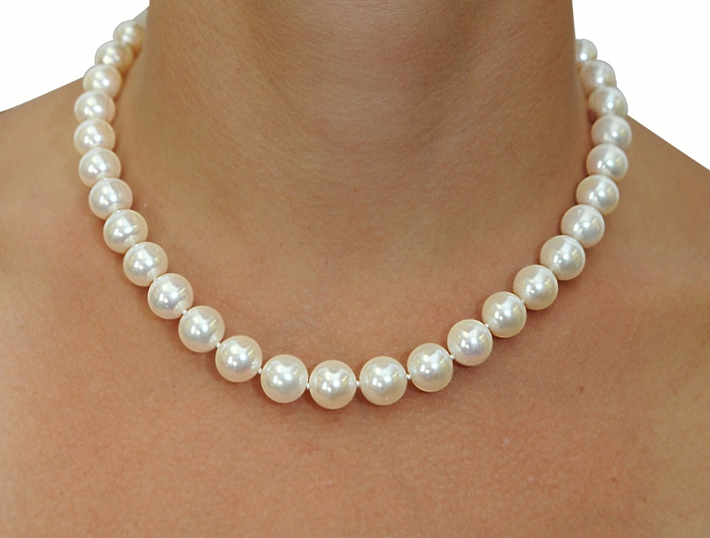 11 12mm white freshwater pearl necklace aaaa quality