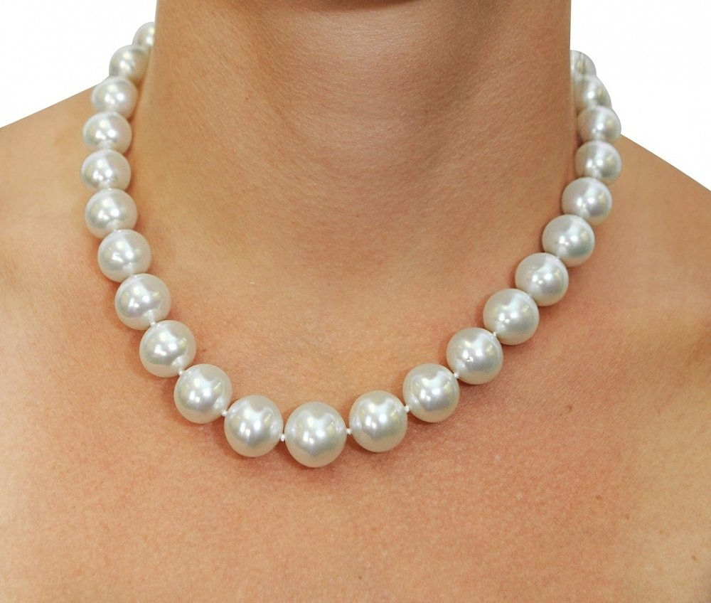 Certified 12 15mm White South Sea Pearl Necklace Aaaa
