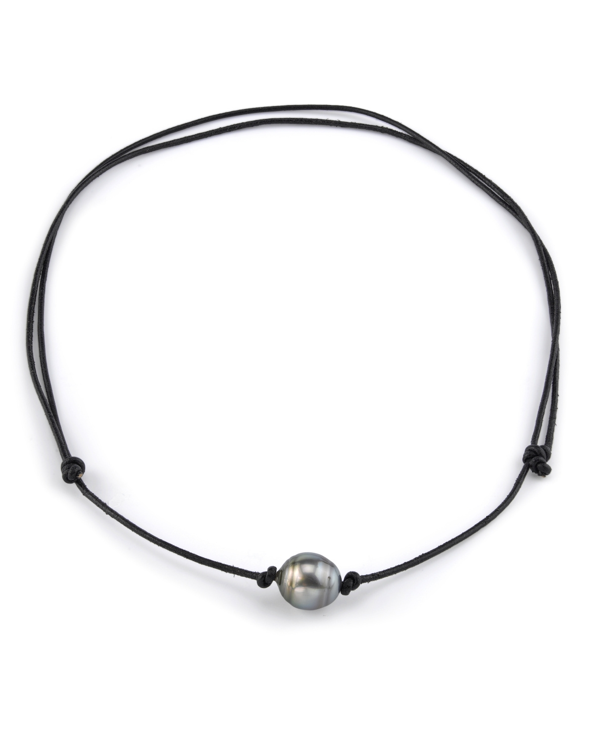 Tahitian Pearl And Leather Necklace: Tahitian Baroque Pearl Leather Adjustable Necklace